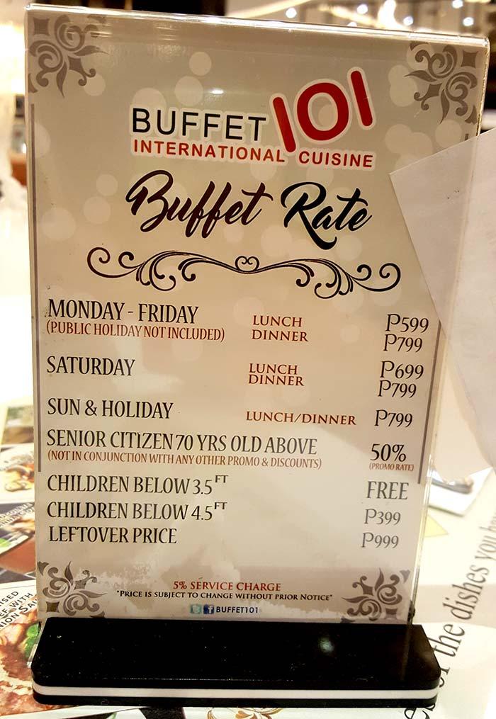 Buffet101價格-吃到飽價格, 午餐價格,晚餐價格