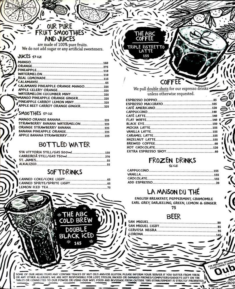 Abaca Baking Company 菜單, Abaca咖啡廳menu